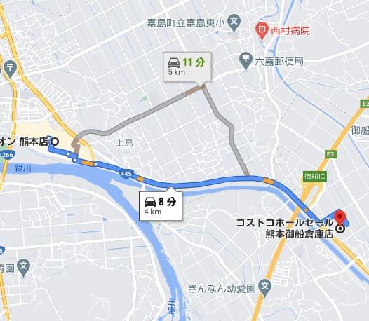 イオンモール熊本からの経路